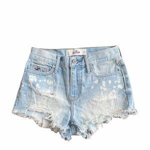 Hollister festival light wash bleached shorts 24